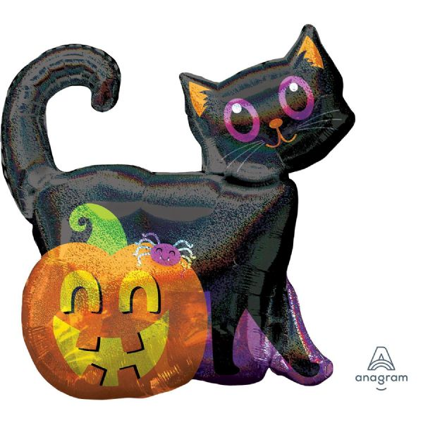 Black Cat & Pumpkin Holographic SuperShape Foil Balloon